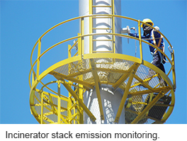Incinerator stack emission monitoring.